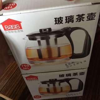 玻璃茶壺(不銹鋼內茶葉隔)100%new