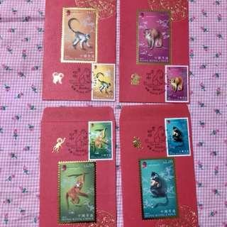 香港猴年郵票利是封4個-特別印