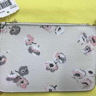 Coach F65444 白色花花key pouch