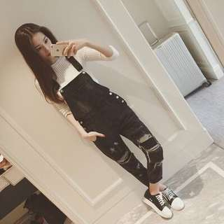 Black Coloured Bib With Ripped Designed Dungaree Denim Overall Jumpsuit