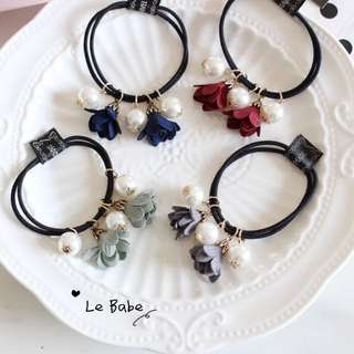 Floral Korean hair tie - 4 colors in stock