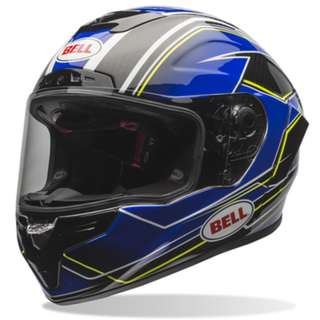 Bell Race Star Helmet SIZE X-LARGE ONLY Adult Full Face Street Racing Motorbike Motorcycle Superbike Helmet Triton Blue Yellow, (D.O.T.-Certified)