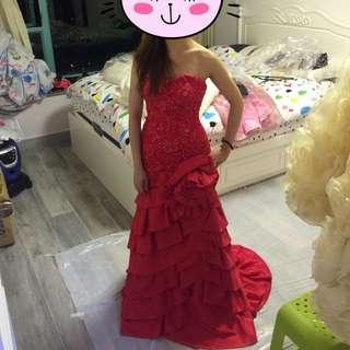 晚裝, evening dress,  gown, wedding dress, 紅裙