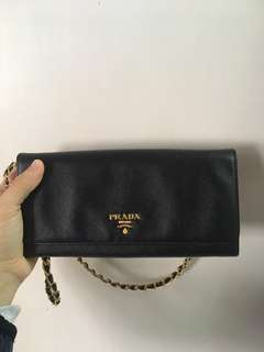 Prada classic long wallet Saffiano Chain black  crossbody 黑色 錢包 銀包