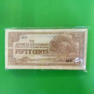 THE JAPANESE  GOVERNMENT  FIFTY CENTS  100 PCS