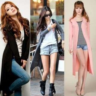 [PO92]2Pcs Women's Casual Long Sleeve Cardigan Knit Knitwear Outwear Coat Tops
