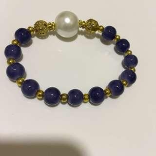 日本 深藍色珠珠手鏈 bracelet