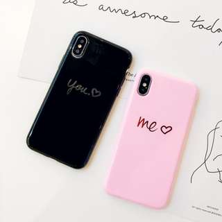 手機殼IPhone6/7/8/plus/X : 情侶款簡約燙金YOU&ME