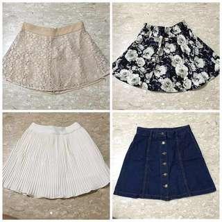 Bundle of 4 new skirts/skorts
