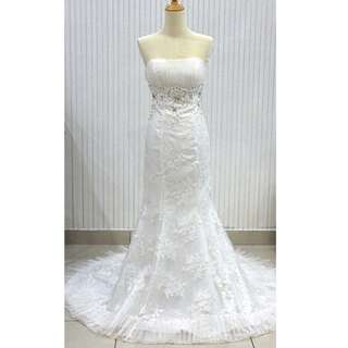 [CLEARANCE] Mermaid Lace Pearl White Wedding Gown