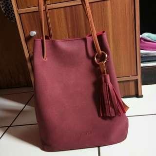 Merche bag maroon premium quality FREE ONGKIR