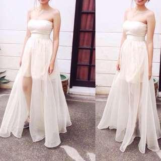Long Gown Cream White