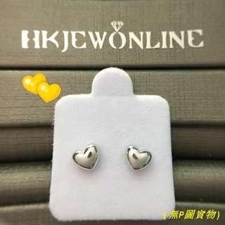 HKJ~18K白金心形耳環