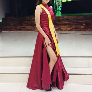Long Gown Satin Wine Red