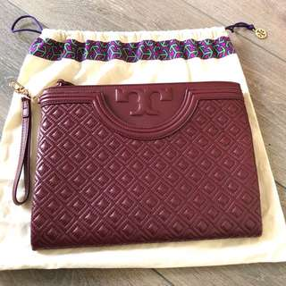 Tory Burch Red Leather Zip Clutch