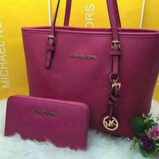 Michael Kors Tote Bag with Wristlet Pink Color