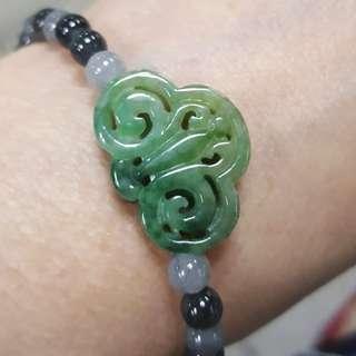 天然緬甸玉a貨手工鏤空雕黃加綠花青如意串冰烏雞珠設計手串