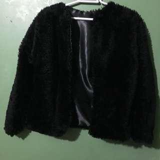 Faux Fur Black Coat Party/Formalwear