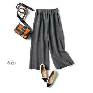 灰色螺紋寬褲