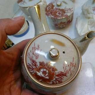 老九谷手描金線赤繪鳳穿牡丹繪 單柄壺+5蓋杯