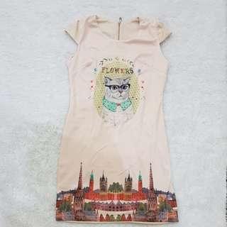 Cat cream dress