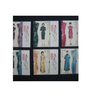 香港2017-旗袍-郵票(附飛龍邊)