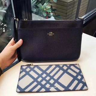 Coach double bag with slim pouch in navy blue!!! Get it now!