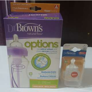 Dr. Brown's Wide Neck Option Bottles and Level 1 Teats
