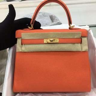 全新A Hermes Kelly 25 8V poppy 金扣