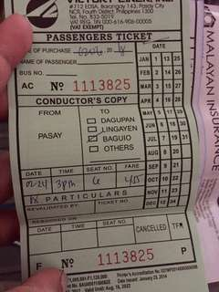 Bus tickets for Baguio (Panagbenga Festival)