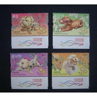 香港2018-狗年-郵票(附飛龍邊)