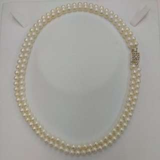 Double Row Fresh Water Pearl Necklace with Silver Clasp