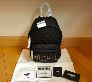 Moschino backpack 背包 (黑色金珠字粒) Small size 小size