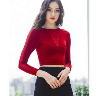 BN Ohvola meshed top in wine red