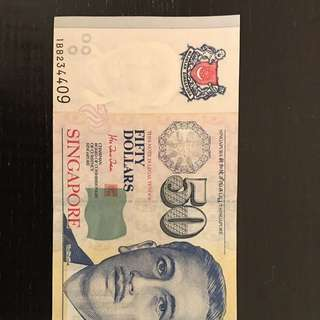 Singapore currency S$50. Alignment error