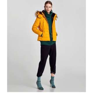 Zara Quilted Jacket in Mustard