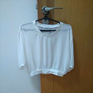(3 for $5) Newly Me white, mesh 3/4 sleeves top
