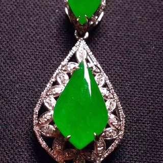 二合一,陽綠, 冰透冰綠,水潤細膩,完美,種水足,18k金奢華鑽石鑲嵌