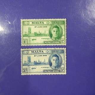 1946 Malta King George VI Postage & Revenue Mint Stamp Set