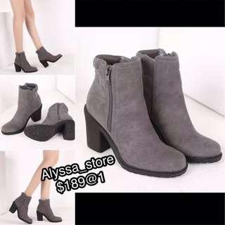 Winter high Heels blocked grey ankle low Boots 灰色低筒短靴粗跟踝靴 騎士 軍靴性感skinny 高踭 Party shoes elegant