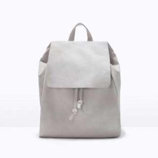 authentic zara gray drawstring foldover flap backpack #Huat50Sale
