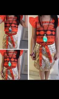 Instock moana dress set w necklace (w Lights and songs ) dress size 90-130cm for 2-7yrs old brand new
