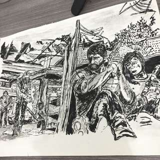 The last of us ink drawing