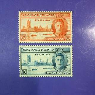 1946 Kenya Uganda Tanganyika King George VI Postage & Revenue Mint Stamp Set