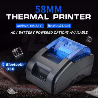 Bluetooth USB POS Thermal Barcode Receipt Label 58mm Printer (Android, iOS, PC, Desktop AC or 18650 Battery, RJ11 cash drawer)