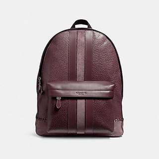 Coach Charles Backpack with Baseball Stitch - Oxblood