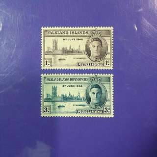 1946 Falkland Islands Dependencies King George VI Postage & Revenue Mint Stamp Set