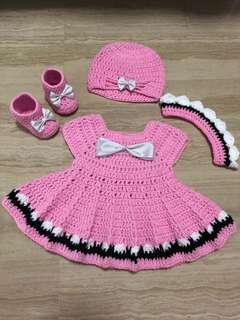 Crochet girls dress set 0-3m