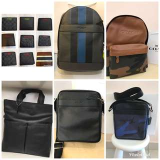 Original coach men backpack sling bag cross bag Handbag wallet purse pouch coin bag