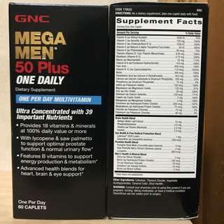 GNC 男士50+綜合維他命 60粒 (Mega Men 50 Plus One Daily)